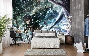 Attack On Titan Anime Custom Wallpaper Living Room Bedroom Mural 3d Tv Sofa Background 125x80cm 49x31 Inch Wxh Amazon Co Uk Diy Tools