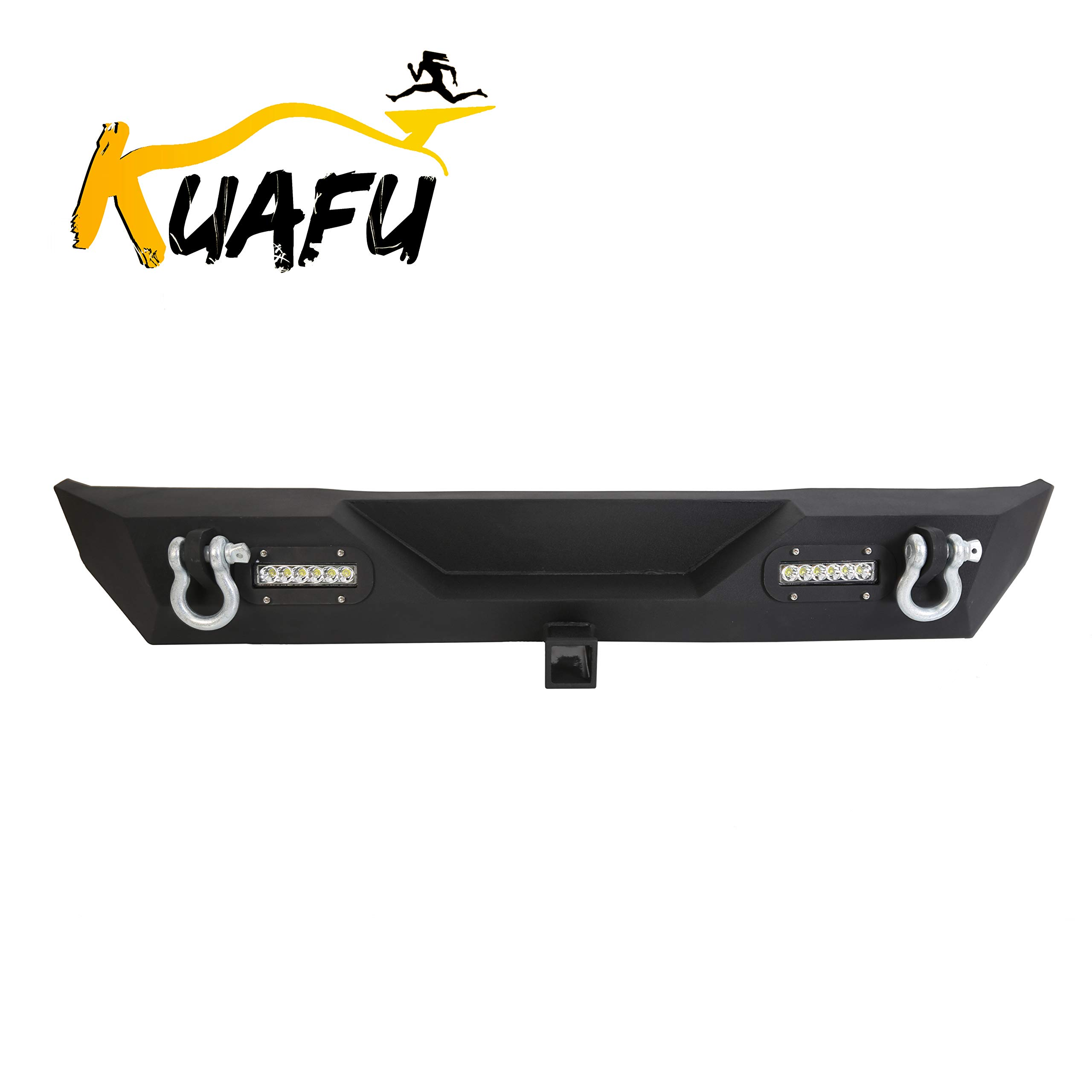 """Rear Bumper For 87-06 Jeep Wrangler TJ YJ Unlimited With LED Lights 2"""" Hitch Receiver D-rings Off-Road Style Black…"""