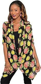 Women's Multicolored 3/4 Sleeve Open Front Kimono Cardigan