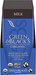 Green & Black's Organic Milk Chocolate Bar, 34% Cacao, Holiday Christmas Chocolate Gift, 10 - 3.17 oz Bars