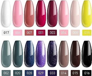 MEFA 18 Pcs Soak Off Gel Nail Polish, 16 Colors Gel + 1 Base Coat + 1 Top Coat(10ml/Bottle), UV Led Gel Polish Manicure Kit For Beginners Nail Art Salon Nail Design Set2