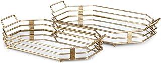 Benzara BM186822 Metal and Mirror Decorative Trays, Gold