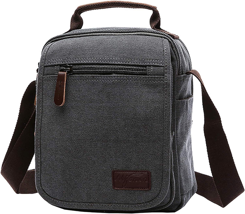 Vertical Canvas Messenger Bag Mygreen Unisex Casual leather Shoulder Bag Satchel Crossbody Bag for Outdoor Activities Travel