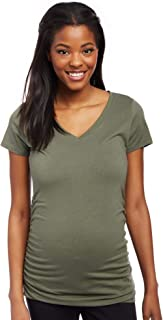 Women's Maternity Short Sleeve V-Neck Side Ruched Tee Shirt