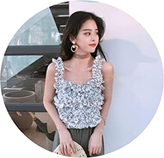 Women's Clothing Korean Blouses Print Chic Crop top Shirts Off Shoulder Spaghetti Strap Woman Tops New