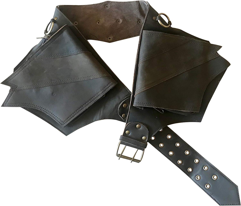 Leather Utility Belt   Winged Dark Brown, 4 Pocket   Saddle   hip bag, travel, festival, fits iPhone
