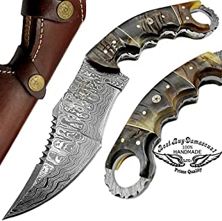 Ram Horn 9.5'' Fixed Blade Custom Hand Made Damascus Steel Hunting Knife 100% Prime Quality with Leather Sheath