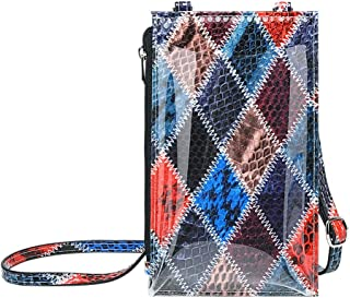 Fashion Clear Cell Phone Purse for Women Small PVC Crossbody Bag Snakeskin Wallet Purses