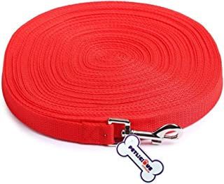 """Petlicious & More NylonDog Training Lead Dog Leash Long Leash 20 Ft Long Leash for Dogs (1"""" Inch Thick x 20 Ft Long) - Red"""