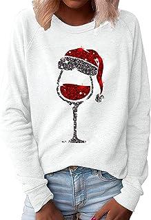 Fudule Christmas Shirt for Women Funny Graphic Crewneck Sweatshirt Tops Casual Raglan Long Sleeve Shirts Blouse Tops