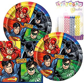 JJ Party Supplies Justice League Theme Plates and Napkins Serves 16 With Birthday Candles