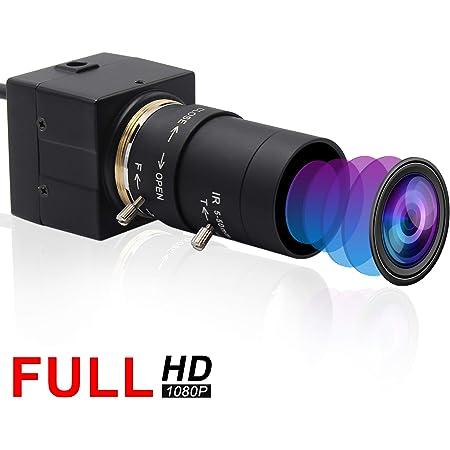 ELP バリフォーカルレンズ USB ウェブカメラ フルHD 1080P 30FPSカメラ 200万画素 高速 480P 100FPS カメラ 5-50mmズーム カメラ プラグ&プレイ/無料ドライバー 動画配信 家庭会議 ゲーム実況 授業カメラ 対応Windows/Android/Mac バリフォーカルウェブカメラ(モデル:ELP-USBFHD01M-SFV 5-50mm-JP)