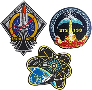 SOUTHYU 3 Pack NASA STS 133/134/135 Space Shuttle Mission Tactical Morale Patches Military Emblem Badge Embroidered Hook and Loop Patch