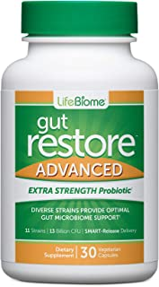 Dr. Drew Sinatra's LifeBiome Gut Restore Advanced, Maximum Strength Microbiome Probiotic with Fermented Botanicals, 11 Mul...