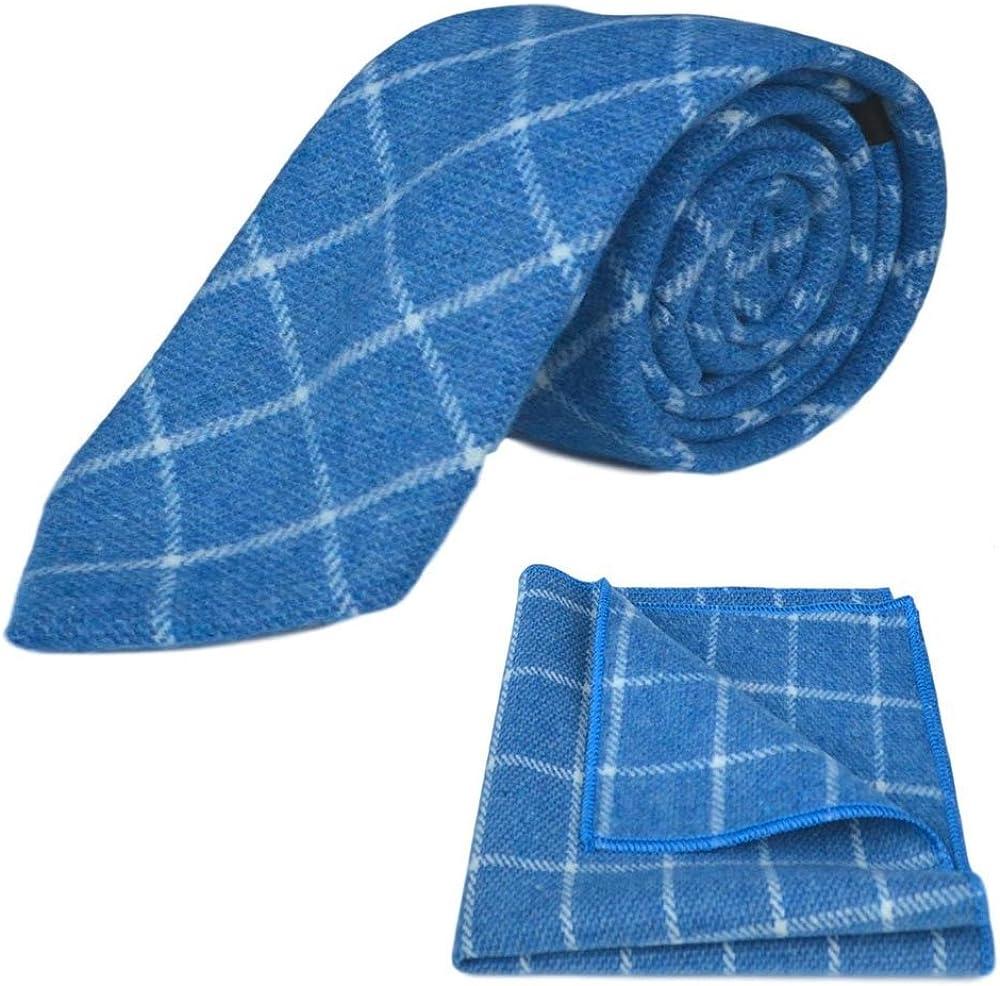 Azure Blue Birdseye Check Necktie & Pocket Square Set