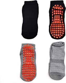 Huapan, Calcetines Deporte 2 Pares Calcetines Antideslizantes para Hombre Mujer Algodón Transpirable Calcetines Deportivos para Pilates Yoga Fitness Gimnasia