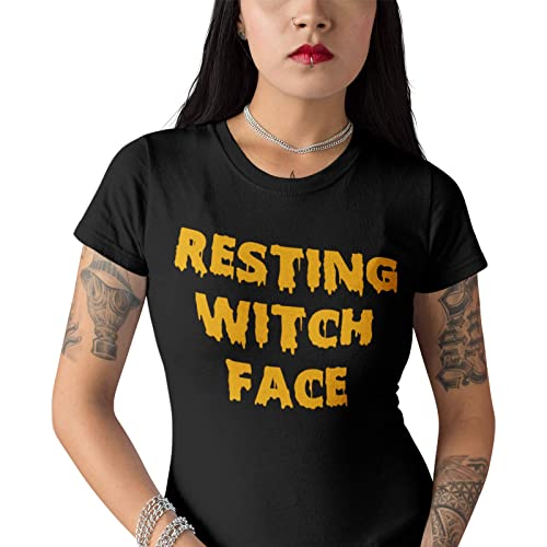 a09b4214e PPH Resting Witch Face Funny Womens Black and Orange Halloween T Shirt