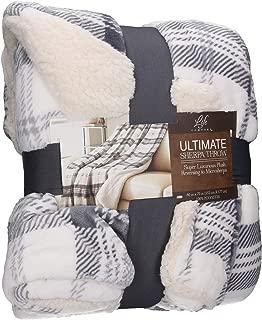 Life Comfort Ultimate Sherpa Throw Luxurious Plush Reversing to MicroSherpa Throw Blanket (Gray Plaid)