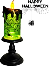 Eldnacele Halloween Snow Globe Candles Lighted Lamp, Battery Operated Spooky Spinning Water Glittering Tornado Candles Fla...