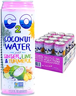 C2O Pure Coconut Water with Ginger, Lime & Turmeric | Plant Based | Non-GMO | No Added Sugar | Essential Electrolytes | 17.5 FL OZ (Pack of 12)