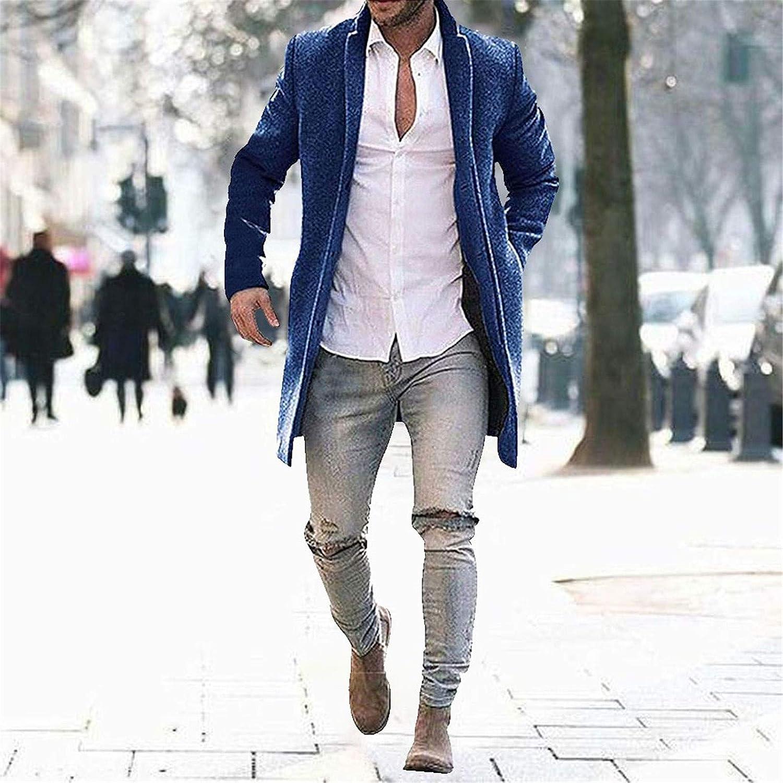 Men's Winter Trench Coat Single Breasted Warm Outwear Long Jacket Formal Overcoat Classic Wool Blend Long Sleeve Coat