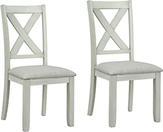Sandpiper Farmhouse Upholstered Dining Chair, White (Set of 2)