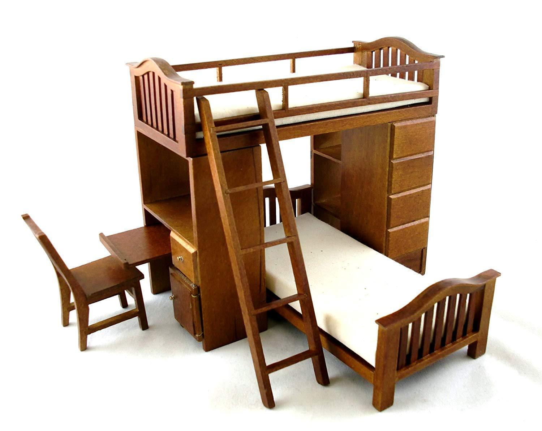 Amazon.es: Aztec Imports, Inc. Muebles de Dormitorio para Casa de Muñecas Madera Nogal Litera Set Alta Traviesa: Juguetes y juegos