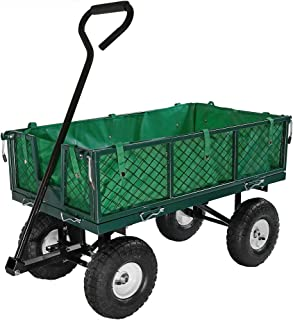 Sunnydaze Utility Steel Garden Cart with Liner, Outdoor Lawn Wagon with Removable Sides, Heavy-Duty 400 Pound Capacity, Green