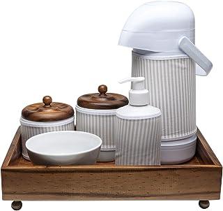 Kit Higiene Madeira Clássico, Potinho de Mel, Bege