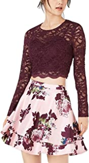 City Studio Juniors' Lace Top & Printed Skirt 2-Piece Dress Raisin/Pink Size 11