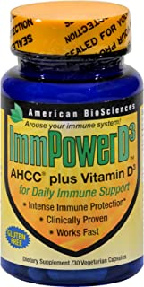 ImmpowerD3 AHCC + Vitamin D3 for Daily Immune Support 500 MG (30 Vegetarian Capsules)