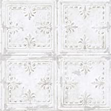 RoomMates Tin Tile White Peel and Stick Wallpaper - RMK11209WP