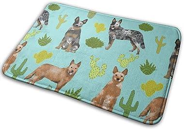 Australian Cattle Dog Blue and Red Heelers Cactus - Blue Tint_16881 Doormat Entrance Mat Floor Mat Rug Indoor/Outdoor/Front D