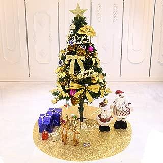TRLYC Glittery Sequin Holiday Tree Skirt, 48-Inch Gold Christmas Tree Skirt