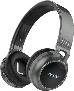 Reetec Bluetooth Headphones Over Ear, Colorful Lights Headphones Wireless with Backup Cord, Stereo Deep Bass Sound Earphon...