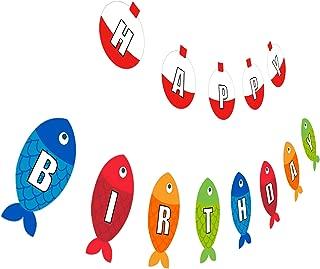Fishing Birthday Banner, Go Fishing Happy Birthday Sign, Little Fisherman Kids Party Decoration
