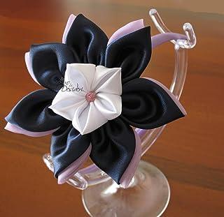 Cerchietto glicine lilla con fiori Kanzashi blu navy, lilla, glicine, bianco