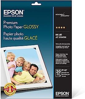 Epson Premium Photo Paper GLOSSY (8x10 Inches, 20 Sheets) (S041465),White