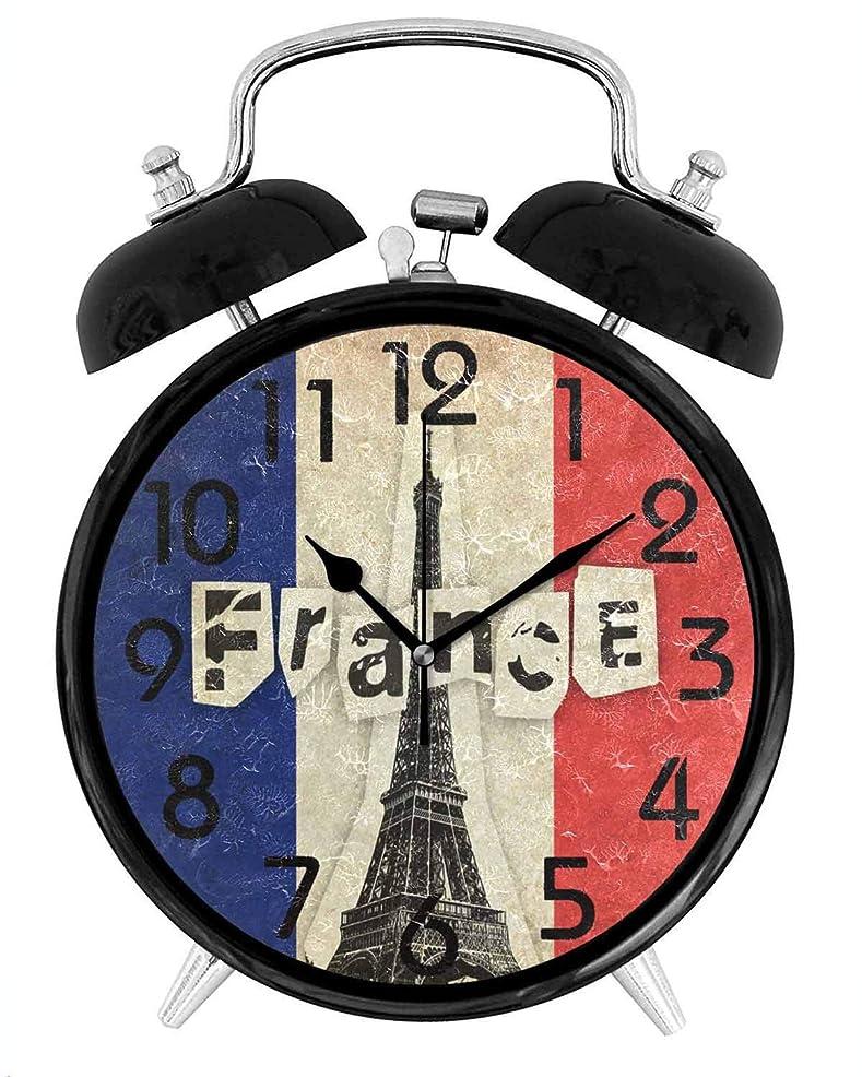 剃る飢柔らかさフランスのグランジフラグフランスエッフェル塔円形の目覚まし時計装飾、バッテリー駆動のクォーツアナログ静かな家庭、オフィス、学校用目覚まし時計:4in(10CM)