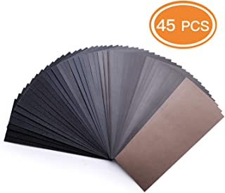 45-Piece 80 To 3000 Grit Wet Dry Sandpaper 9 x 3.6 Inches for Wet or Dry Sanding, Metal Sanding and Automotive Polishing Wood Furniture Finishing - ASD07C