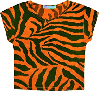 a6e47de4b01 JollyRascals Girls Crop Top New Kids Short Sleeved Stretch Zebra Print T- Shirt Dance Party Crop Top Neon Pink Yellow Orange Green Summer Top Ages 5  6 7 8 9 ...