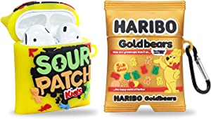 2 Pack Candy Cool Airpods 1/2 Case, Silicone Cute Cartoon Food Air Pod Case 3D Funny Kawaii Protective Cover Skin for Apple Airpods 1&2 Case for Girls Womens Boys Kids Teens (Candy Kit & Gold Bears)