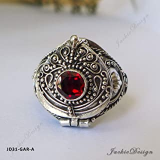 Red Garnet Size 7 Poison Ring Locket Bali Sterling Silver Secret Compartment Jewelry JD31