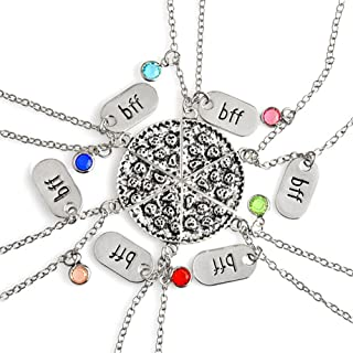 Best Friend Pizza Pendant Necklace with Crystal Charm BFF Friendship Necklace Set for Friends Gift Unisex