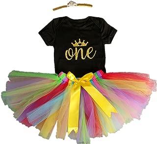 3PCs Baby Girls' 1st Birthday Tutu Onesie Skirt Dress Headband Outfit