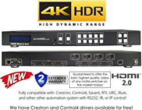 4x4 HDMI 4K HDR Matrix Switcher 18GBPS Ultra YUV 4:4:4 HDCP2.2 60Hz HDMI 2.0B Dolby Atmos HDTV Routing SELECTOR SPDIF Audio CONTROL4 Savant Home Automation Switch IP RS232…