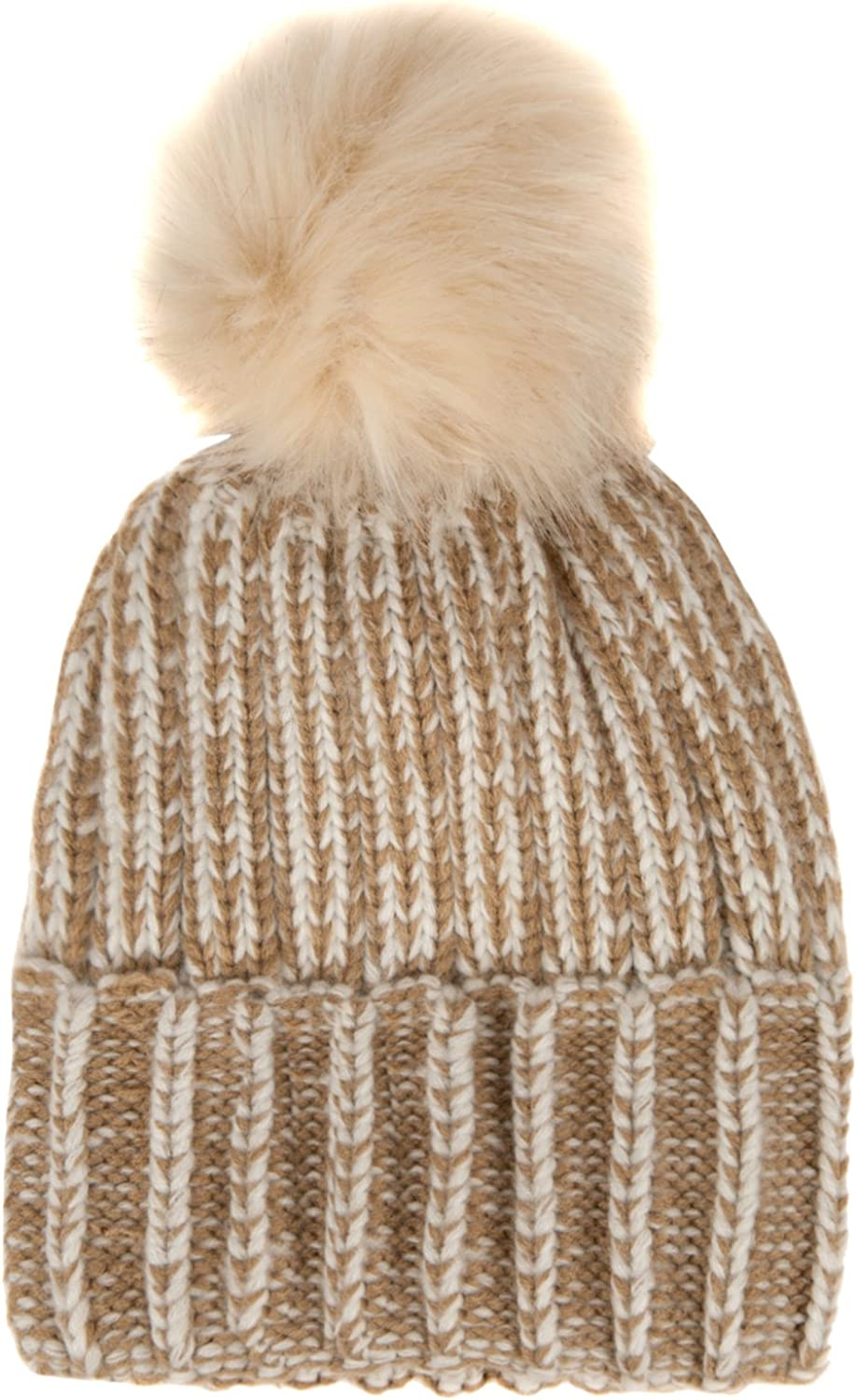 Aerusi TwoTone Thick Knit Fashionable Cold Weather Winter Unisex Beanie