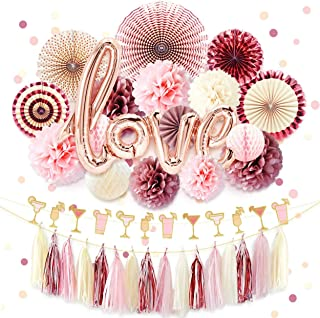 NICROLANDEE Rose Gold Bridal Shower Decorations Love Foil Balloon Banner Hanging Party Fans Dusty Rose Tissue Paper Flowers Poms Glitter Champagne Glasses Garland Tassel Wedding Valentines Day (Love)