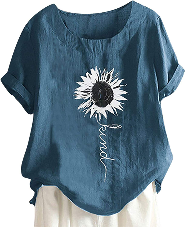 Forwelly Women's Summer Tunic Top Casual Cotton Linen O Neck T Shirt Sunflower Graphic Short Sleeve Shirt Blouse