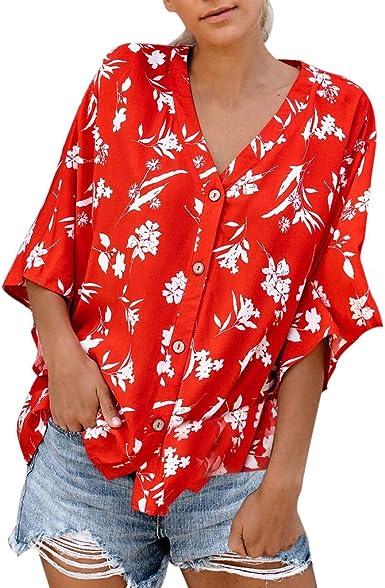Berimaterry Camiseta Mujer Manga Corta Ropa Mujer Verano Blusa Sexy Rosa Mujer Fiesta Blusones Talla Grande Blusas Mujer Elegantes Tallas Grandes ...